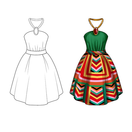sewing pattern: Flat Fashion Illustration Template - Party dress with collar tie and wide skirt in printed fabric geometrical
