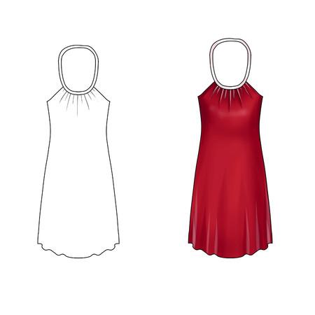 short dress: Flat Fashion Illustration Template - Neck tie short dress
