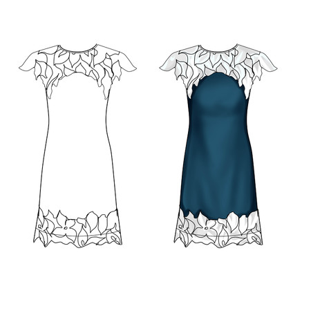 encajes: Flat Fashion Template Illustration - Denim and White lace dress Foto de archivo