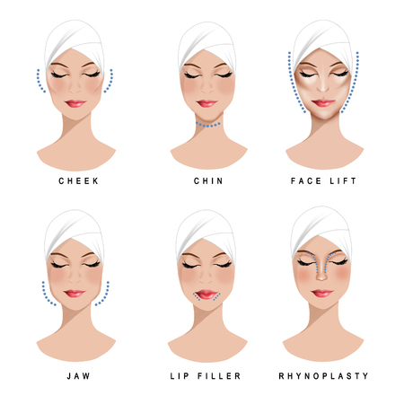 reconstructive: Beauty treatments and surgery set of clipart Stock Photo