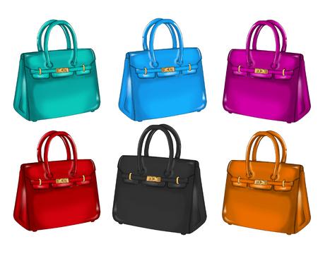Het verzamelen van differents kleurrijke handtassen Stockfoto