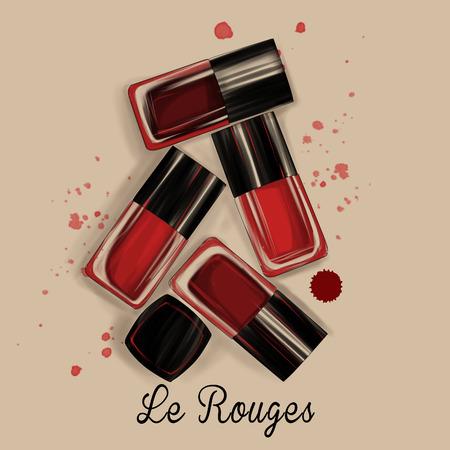 nail polish: Watercolor Illustration of nail polish bottles