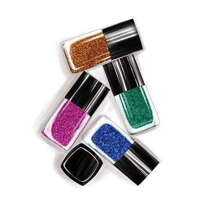 Hand getrokken illustratie van glittered nagellakflessen