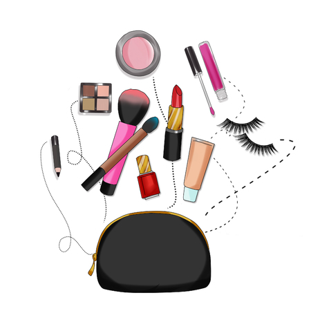 vanity bag: Fashion Illustration background - Beauty bag with make-up and cosmetics