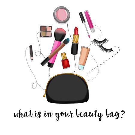 Illustratie van de mode achtergrond - Schoonheid tas met make-up en cosmetica Stockfoto