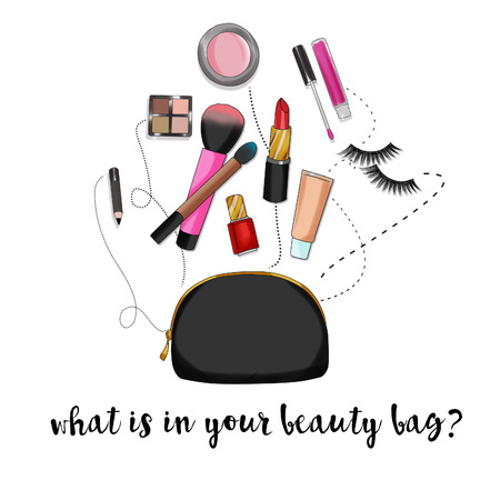 Fashion Illustration background - Beauty bag with make-up and cosmetics