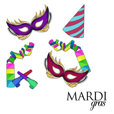 clover face: Illustration raster -Carnival Illustration -Mardi Gras September