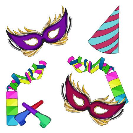clover face: Illustration raster illustration -Carnival -Mardi Gras September Stock Photo