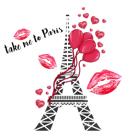 pursued: watercolor hand drawn illustration - Eiffel tower with ballons and hearts Stock Photo