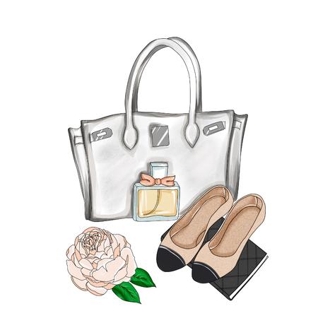 Ejemplo de la acuarela - Ejemplo de la moda - dibujado a mano de la trama de fondo - bolsa de diseñador y zapatos planos