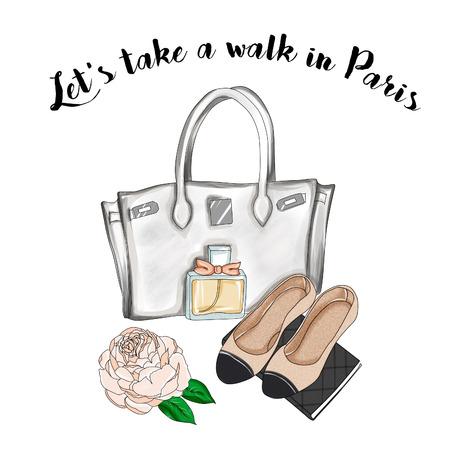 designer bag: watercolor illustration - Fashion Illustration - Hand drawn raster background - designer bag and flat shoes