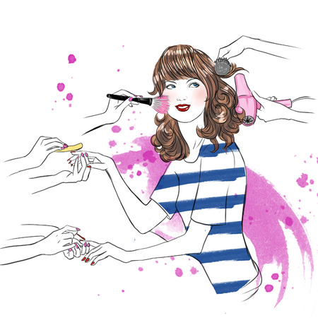 skin care woman: Young woman having beauty treatment at beauty salon - hand drawn raster illustration