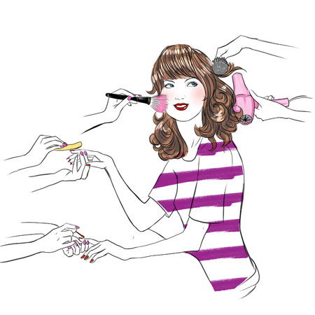 hair mask: Young woman having beauty treatment at beauty salon - hand drawn raster illustration