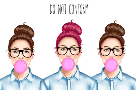 chignon: Hand drawn Raster Illustration - Fashion Illustration of beautiful young pretty girl with glasses chewing bubble gum