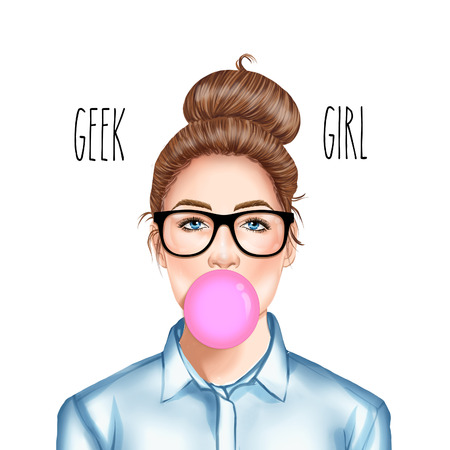 swag: Hand drawn Raster Illustration - Fashion Illustration of beautiful young pretty girl with glasses chewing bubble gum