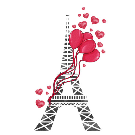 ballons: watercolor hand drawn illustration - Eiffel tower with ballons and hearts Stock Photo