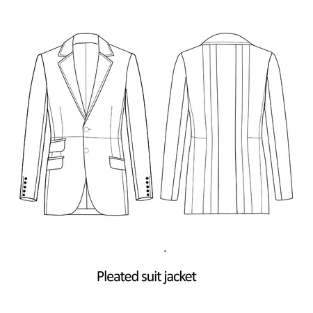 Flat Fashion Sketch Template Man Suit Jacket Stock Photo Picture