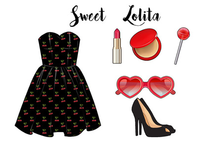 lolita: Fashion Illustration - Fashion set collection - short dress, heels, and makeup
