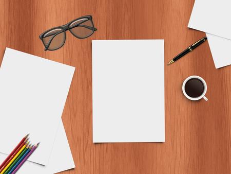 articulos de oficina: Ilustración realista de escritorio con artículos de oficina