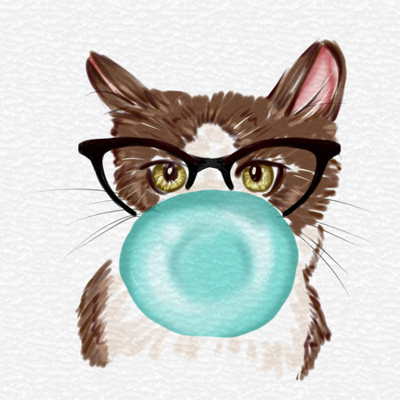 natures: Hand drawn Watercolor Illustration - Illustration of cat with bubble um and eyeglasses Stock Photo