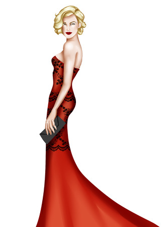 light red: Elegant woman wearing a long dress elegant fashion