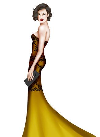 elegant woman: Elegant woman wearing a long dress elegant fashion