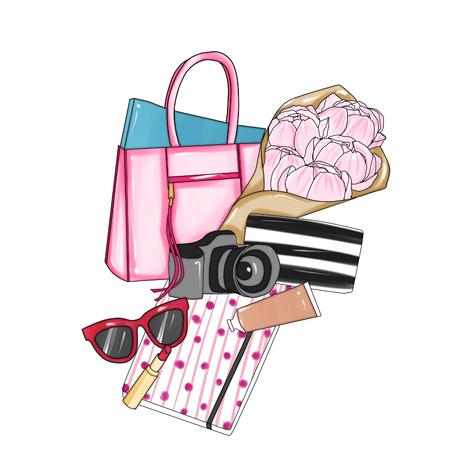 designer bag: Hand drawn fashion illustration - Background - Fashion designer bag with various items