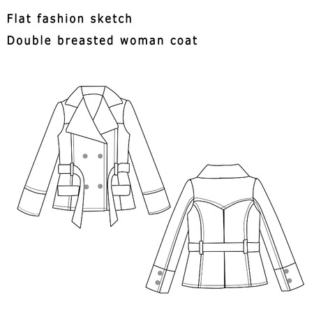 Fashion Flat Sketch Template - Coat Woman Stock Photo, Picture And ...