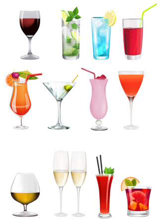 party wine: Set - Collection of different alchoolics and soft drinks - Clip art set