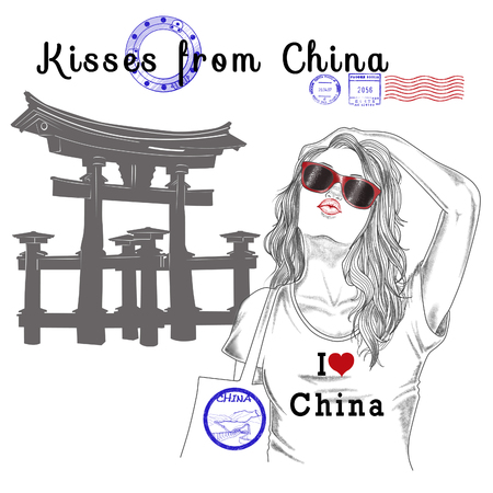 beijing: Fashion Illustration - Postcard - Girl with monument background and post stamps - Beijing - China - Asia
