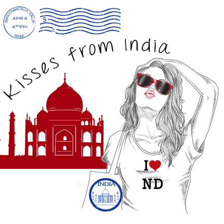 monument in india: Fashion Illustration - Postcard - Girl with monument background and post stamps -India - new delhi
