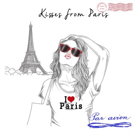 Illustratie van de Mode - Postcard - Meisje met monument achtergrond en postzegels Stockfoto