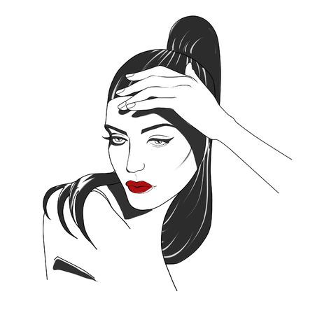 fashion portrait: Fashion Illustration - Portrait of woman - Stylized portrait of woman in black and white