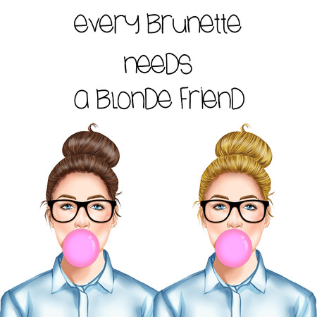 chignon: Hand drawn illustration of a blonde and a brunette girl with eye glasses