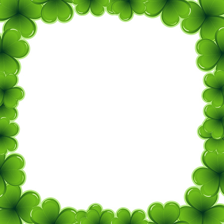 17 march: Decorative frame border made of shamrock - Saint Patrick day card invitation - 17 march Stock Photo
