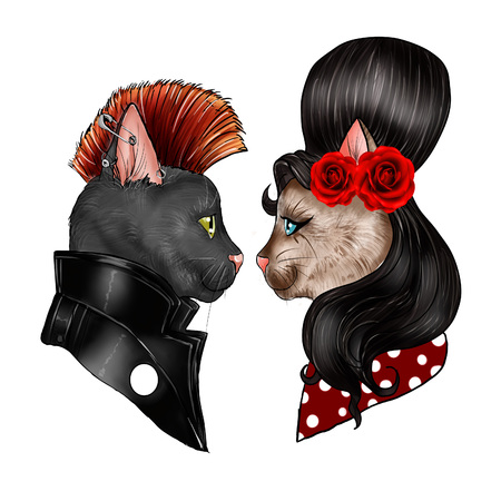 felines: hand drawn illustration of felines dressed as characters Stock Photo