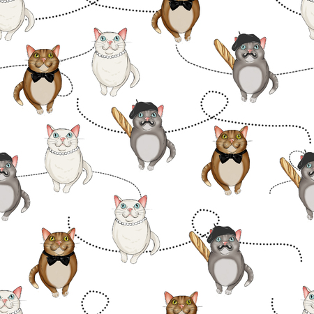 dotted lines: Seamless Background All over with character cats on a dotted lines background Stock Photo
