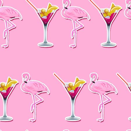 Martini glas en flamingo's op roze achtergrond - naadloos patroon Stockfoto