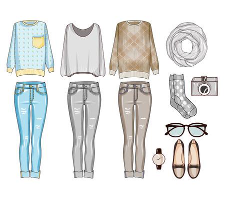 Fashion set van de kleren van de vrouw, accessoires en schoenen. Casual outfits in grijs, blauw en bruin tinten - mode-illustraties Stockfoto