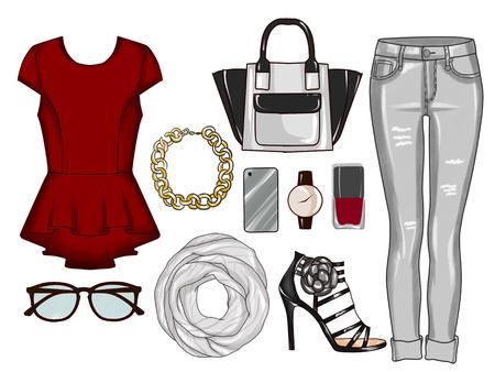 Fashion set van de kleren van de vrouw, accessoires en schoenen - Grijs denim jeans, tops, sandalen, sjaal, make-up, sieraden - Clip Art september