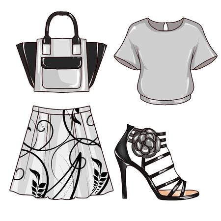 Raster Illustratie van de mode - illustraties Set van kleding en accessoires van de vrouw