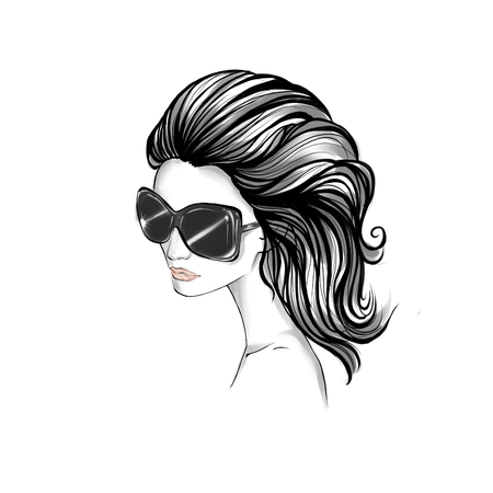 wavy hair: Black and White portrait of elegant woman wearing sunglasses with long wavy hair