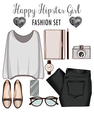 Fashion set van de kleren van de vrouw, accessoires en schoenen - mode-illustraties