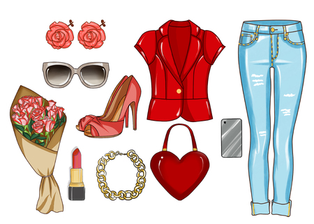 fashionable: Fashion set of womans clothes, accessories, and shoes Stock Photo