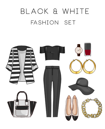 fashion set: Fashion set of womans clothes and accessories - Black and white outfit - pants, tops, flat shoes, jewels, bag Stock Photo