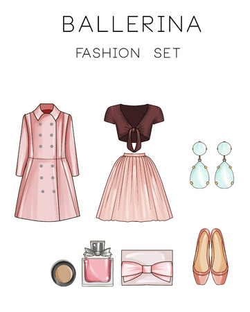 earrings: Fashion set of womans clothes and accessories - Coat, ballerina skirt, top, make up, flat shoes, diamond earrings