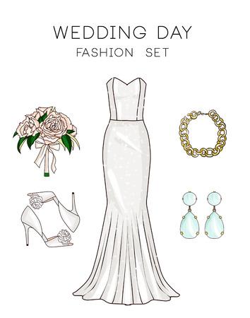Fashion set van de kleren van de vrouw, accessoires en schoenen - Bruid outfits