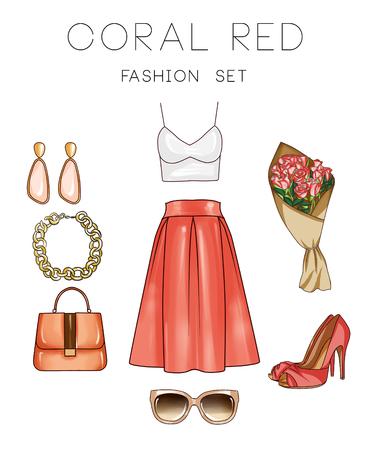 Fashion set van de vrouw kleding, accessoires en schoenen - Denim outfits