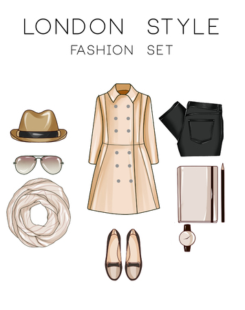 moleskine: Fashion set of womans clothes and accessories - Panama hat, loafers, jeans, moleskine, sunglasses, watch, trench coat
