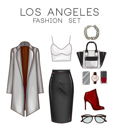 falda: Conjunto de moda de la ropa de mujer y accesorios - capa, top, falda, botas, maquillaje, bolso de mano